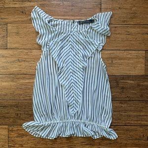 Black and White Striped Ruffle Sleeveless Blouse